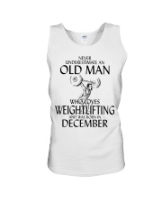 Never Underestimate Old Man Weightlifting December Unisex Tank thumbnail
