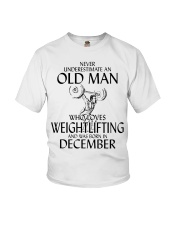 Never Underestimate Old Man Weightlifting December Youth T-Shirt thumbnail