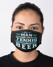 Mens just a man who loves tennis beer funny  Cloth face mask aos-face-mask-lifestyle-01