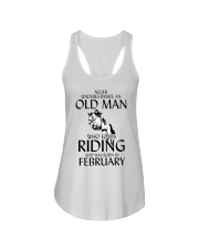 An Old Man Who Loves Riding And Was Born February Ladies Flowy Tank thumbnail