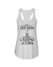 Never Underestimate Old Man Cycling October Ladies Flowy Tank thumbnail