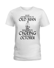 Never Underestimate Old Man Cycling October Ladies T-Shirt thumbnail