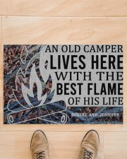 """Camping An Old Camper Lives Here Personalized Doormat 22.5"""" x 15""""  aos-doormat-22-5x15-lifestyle-front-02"""
