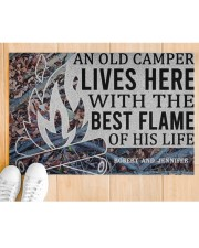 """Camping An Old Camper Lives Here Personalized Doormat 22.5"""" x 15""""  aos-doormat-22-5x15-lifestyle-front-03"""