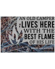 """Camping An Old Camper Lives Here Personalized Doormat 22.5"""" x 15""""  front"""