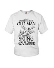 An Old Man Loves Skiing November Youth T-Shirt thumbnail