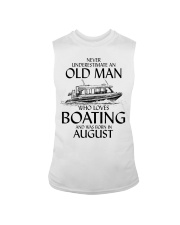 Never Underestimate Old Man Boating August Sleeveless Tee thumbnail