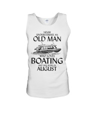 Never Underestimate Old Man Boating August Unisex Tank thumbnail