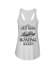 Never Underestimate Old Man Boating August Ladies Flowy Tank thumbnail