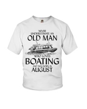 Never Underestimate Old Man Boating August Youth T-Shirt thumbnail