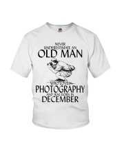 Never Underestimate Old Man Photography December Youth T-Shirt thumbnail