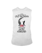 Never Underestimate Old Woman Golf February Sleeveless Tee tile