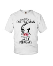 Never Underestimate Old Woman Golf February Youth T-Shirt thumbnail