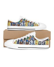AUGUST 9 LICENSE PLATES Women's Low Top White Shoes inside-left-outside-left