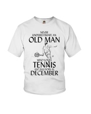 Never Underestimate Old Man Loves Tennis December Youth T-Shirt thumbnail