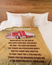 "Trucker To Husband Personalized Christmas Gift Large Fleece Blanket - 60"" x 80"" aos-coral-fleece-blanket-60x80-lifestyle-front-02"