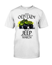 Never Underestimate Old Lady Jeep March Classic T-Shirt front