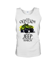 Never Underestimate Old Lady Jeep March Unisex Tank thumbnail