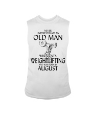 Never Underestimate Old Man Weightlifting August Sleeveless Tee thumbnail