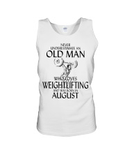Never Underestimate Old Man Weightlifting August Unisex Tank thumbnail