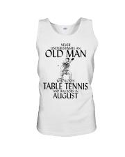 Never Underestimate Old Man Table Tennis August Unisex Tank thumbnail