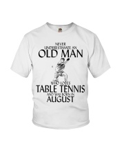 Never Underestimate Old Man Table Tennis August Youth T-Shirt thumbnail