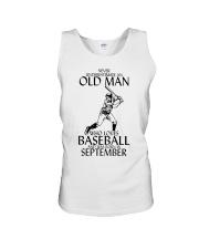 Never Underestimate Old Man Baseball September Unisex Tank thumbnail