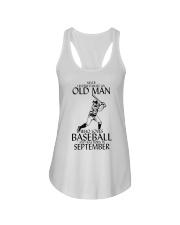 Never Underestimate Old Man Baseball September Ladies Flowy Tank thumbnail