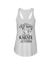 Never Underestimate Old Man Karate October Ladies Flowy Tank thumbnail