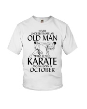 Never Underestimate Old Man Karate October Youth T-Shirt thumbnail