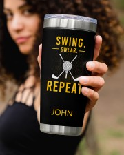 Swing Swear Repeat Golf Personalized 20oz Tumbler aos-20oz-tumbler-lifestyle-front-93