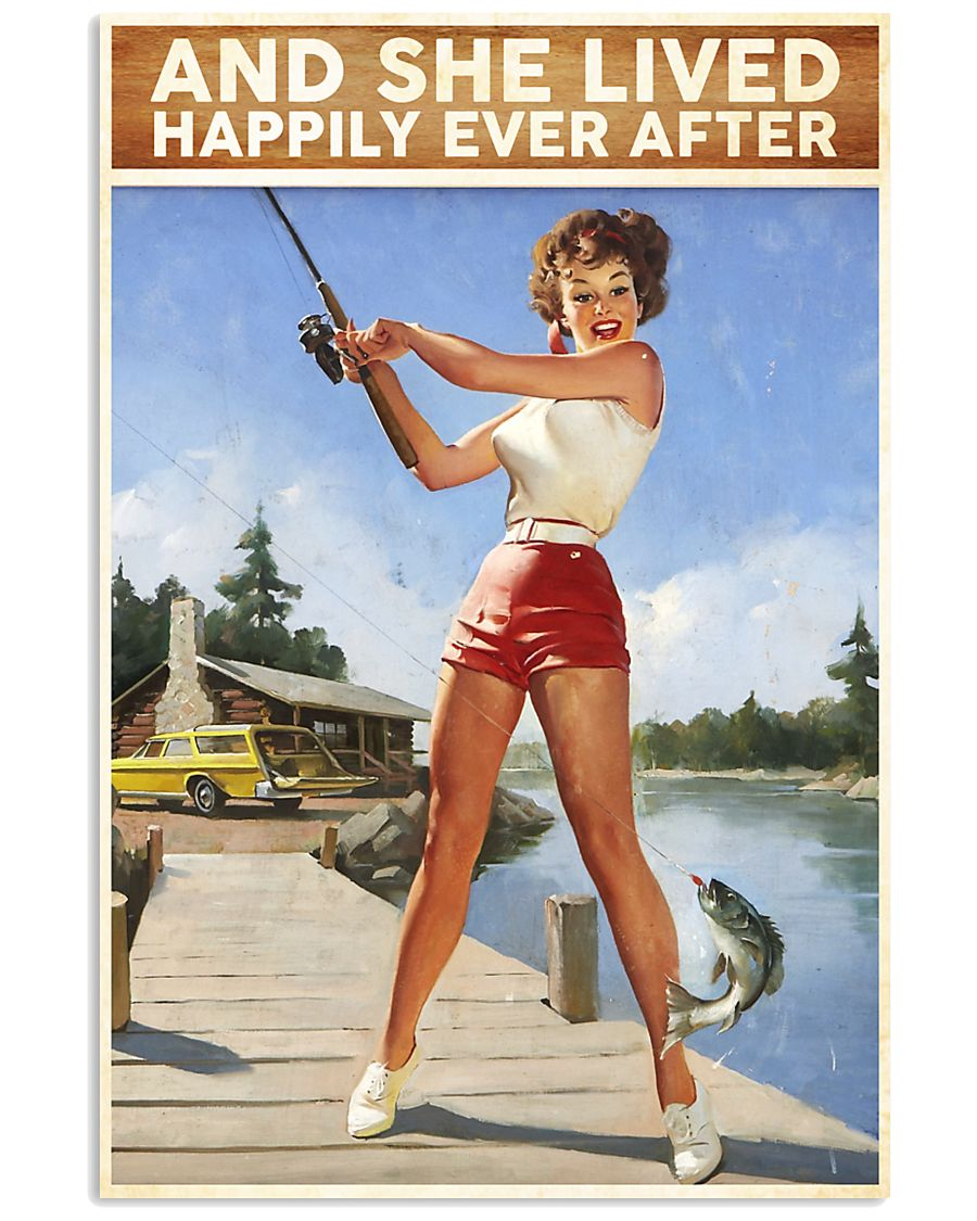 Fishing And She lived happily ever after 24x36 Poster
