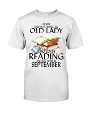 Never Underestimate Old Lady Reading September Classic T-Shirt front