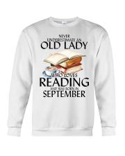 Never Underestimate Old Lady Reading September Crewneck Sweatshirt thumbnail