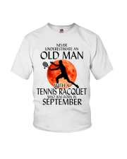 Old Man Tennis Racquet September Youth T-Shirt thumbnail