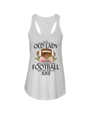 Never Underestimate Old Lady Football June Ladies Flowy Tank thumbnail