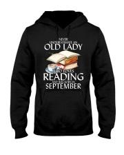Never Underestimate Old Lady Reading SeptembeBLack Hooded Sweatshirt thumbnail