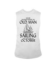 Never Underestimate Old Man Loves Sailing October Sleeveless Tee thumbnail