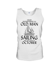 Never Underestimate Old Man Loves Sailing October Unisex Tank thumbnail