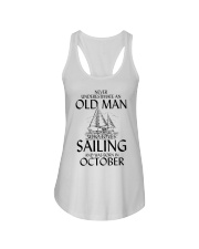 Never Underestimate Old Man Loves Sailing October Ladies Flowy Tank thumbnail