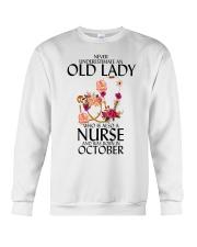 Never Underestimate Old Lady Nurse October Crewneck Sweatshirt thumbnail
