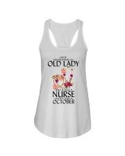 Never Underestimate Old Lady Nurse October Ladies Flowy Tank thumbnail