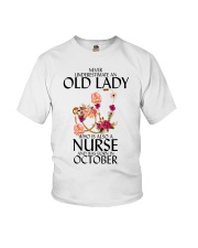 Never Underestimate Old Lady Nurse October Youth T-Shirt thumbnail