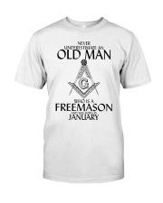 Never Underestimate Old Man Freemason January Classic T-Shirt front