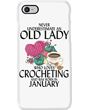Never Underestimate Old Lady Crocheting January Phone Case thumbnail