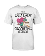 Never Underestimate Old Lady Crocheting January Classic T-Shirt front