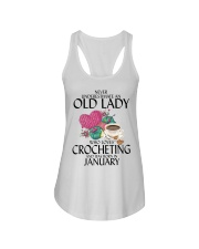 Never Underestimate Old Lady Crocheting January Ladies Flowy Tank thumbnail