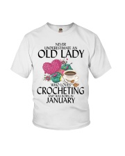 Never Underestimate Old Lady Crocheting January Youth T-Shirt thumbnail