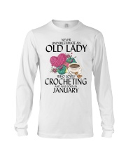 Never Underestimate Old Lady Crocheting January Long Sleeve Tee thumbnail