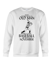 Never Underestimate Old Man Baseball November Crewneck Sweatshirt thumbnail